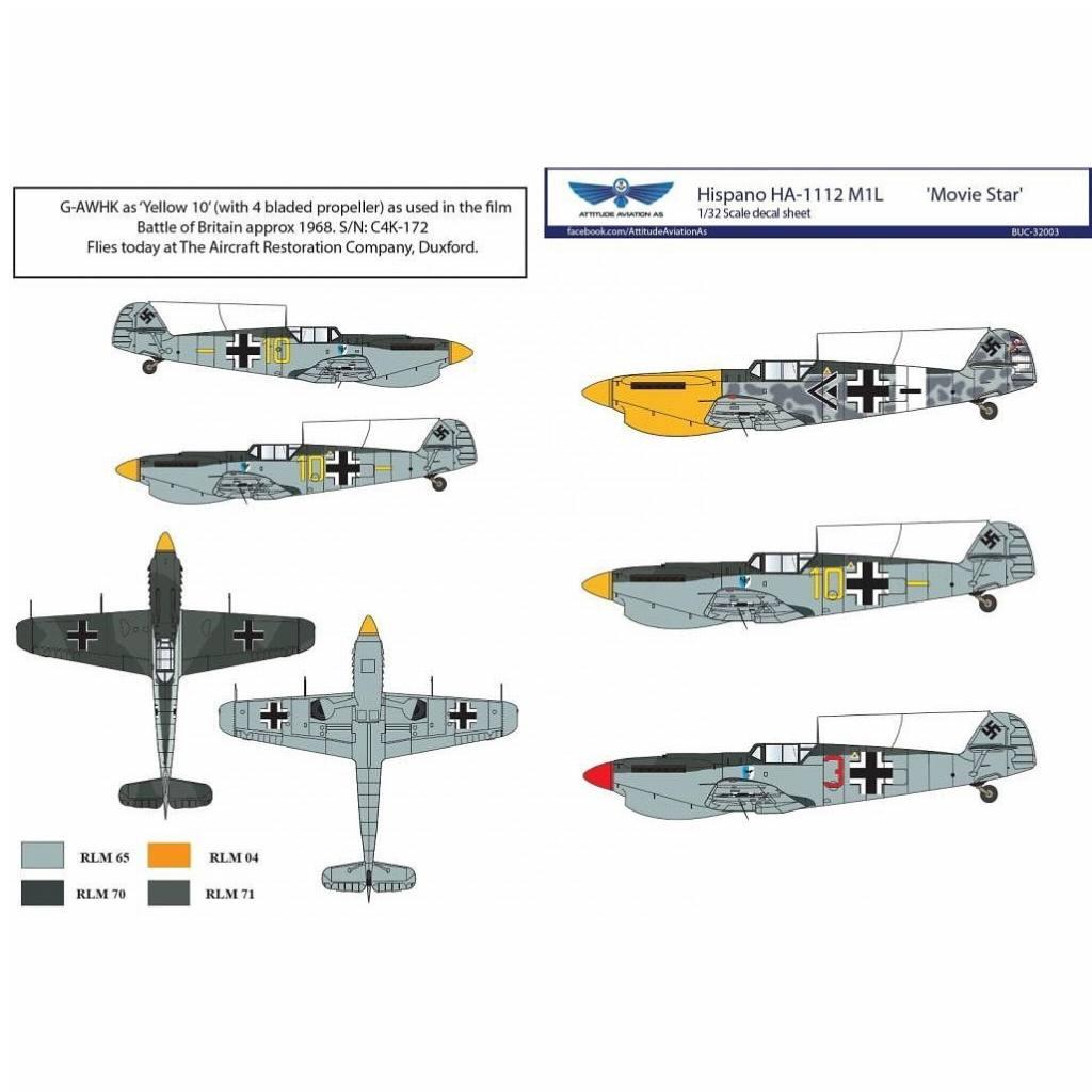 【新製品】アティチュードアビエーション BUC-32003 イスパノ HA-1112M1L ムービースター