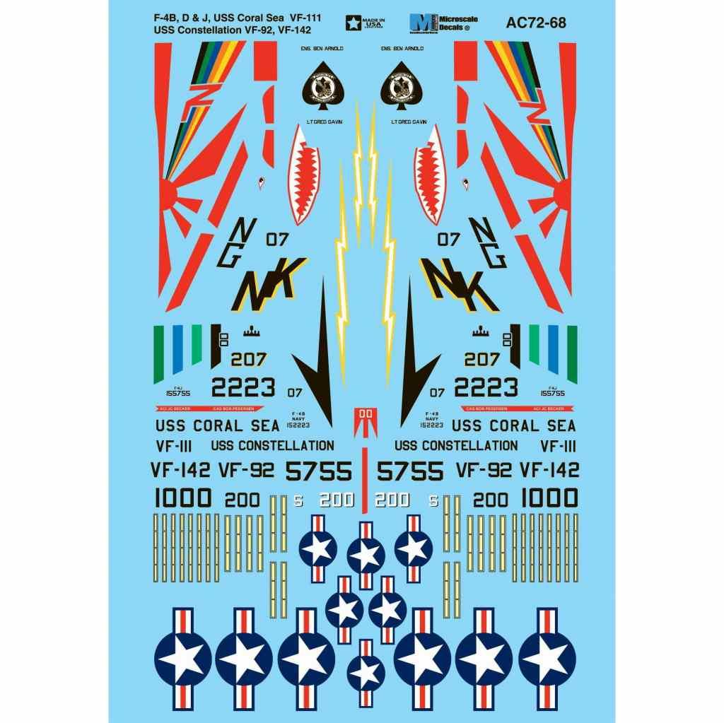 【新製品】AC72-0068 F-4B/D/J ファントムII 空母 コーラル・シー VF-111、空母 コンステレーション VF-92&VF-142