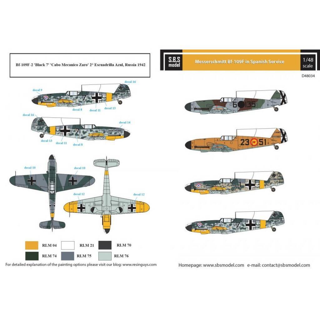 【新製品】D48034 メッサーシュミット Bf109F 「スペイン空軍」 デカール