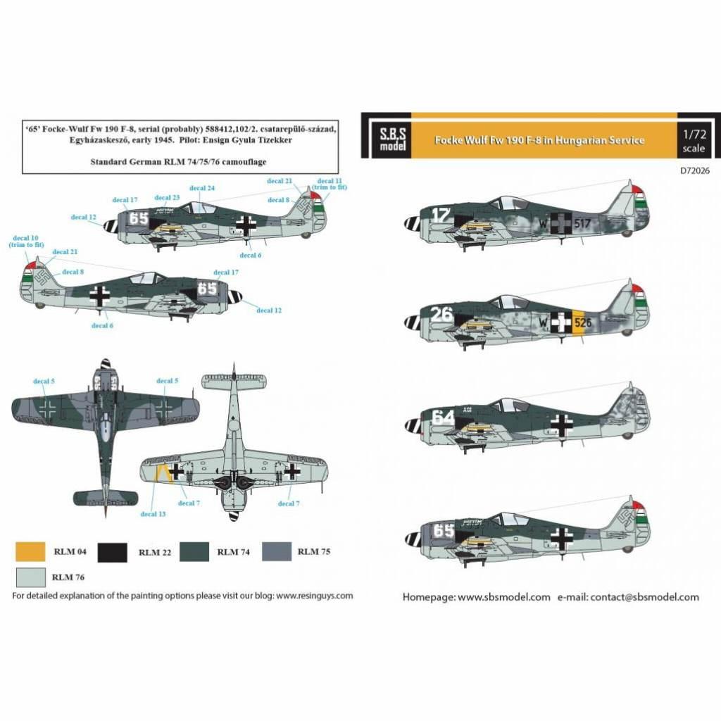 【新製品】D72026 フォッケウルフ Fw190F-8 「ハンガリー空軍」 Vol..I