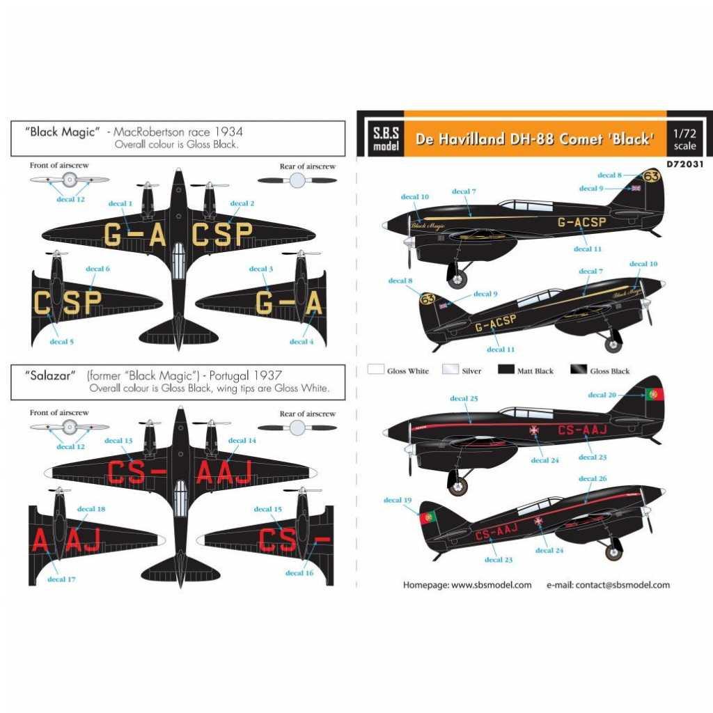 【新製品】D72031 デ・ハビランド DH-88 コメット 「黒」