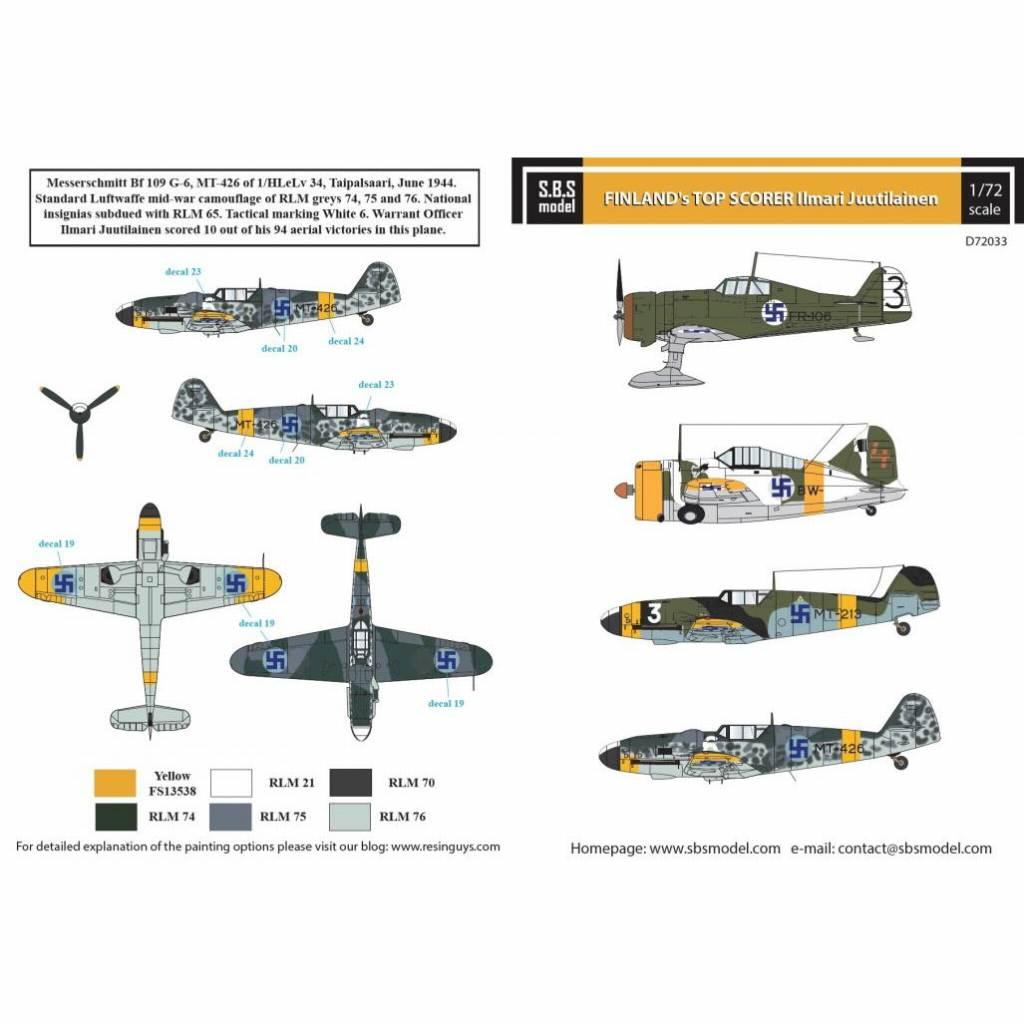 【新製品】D72033 フィンランド空軍 撃墜王 イルマリ・ユーティライネン 乗機デカール