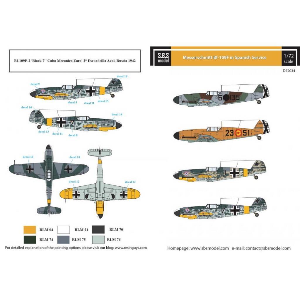 【新製品】D72034 メッサーシュミット Bf109F 「スペイン空軍」 デカール