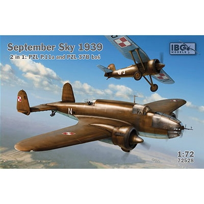 【新製品】72528 1939年9月 ポーランド PZL37Bロシュ爆撃機+PZL P11A戦闘機セット