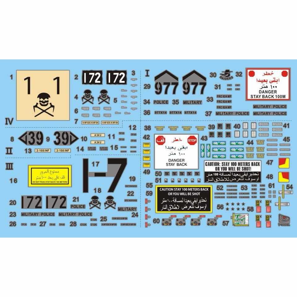 【新製品】TK72015)HMMWV M1114用デカールセット(4種類、車両本体&装備品用)