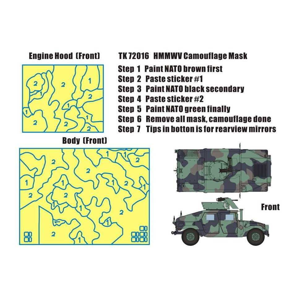 【新製品】TK72016 HMMWV M1114用NATO迷彩ペイントマスク