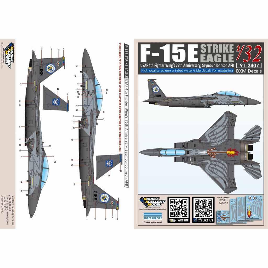 【新製品】91-3407 アメリカ空軍 マクドネル・ダグラス F-15E ストライクイーグル 第4戦闘航空団 75周年記念塗装