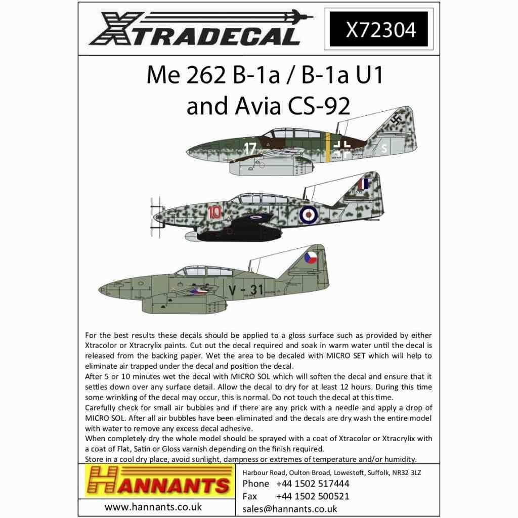 【新製品】X72304 メッサーシュミット Me262B-1a/B-1U1 & アヴィア CS-92