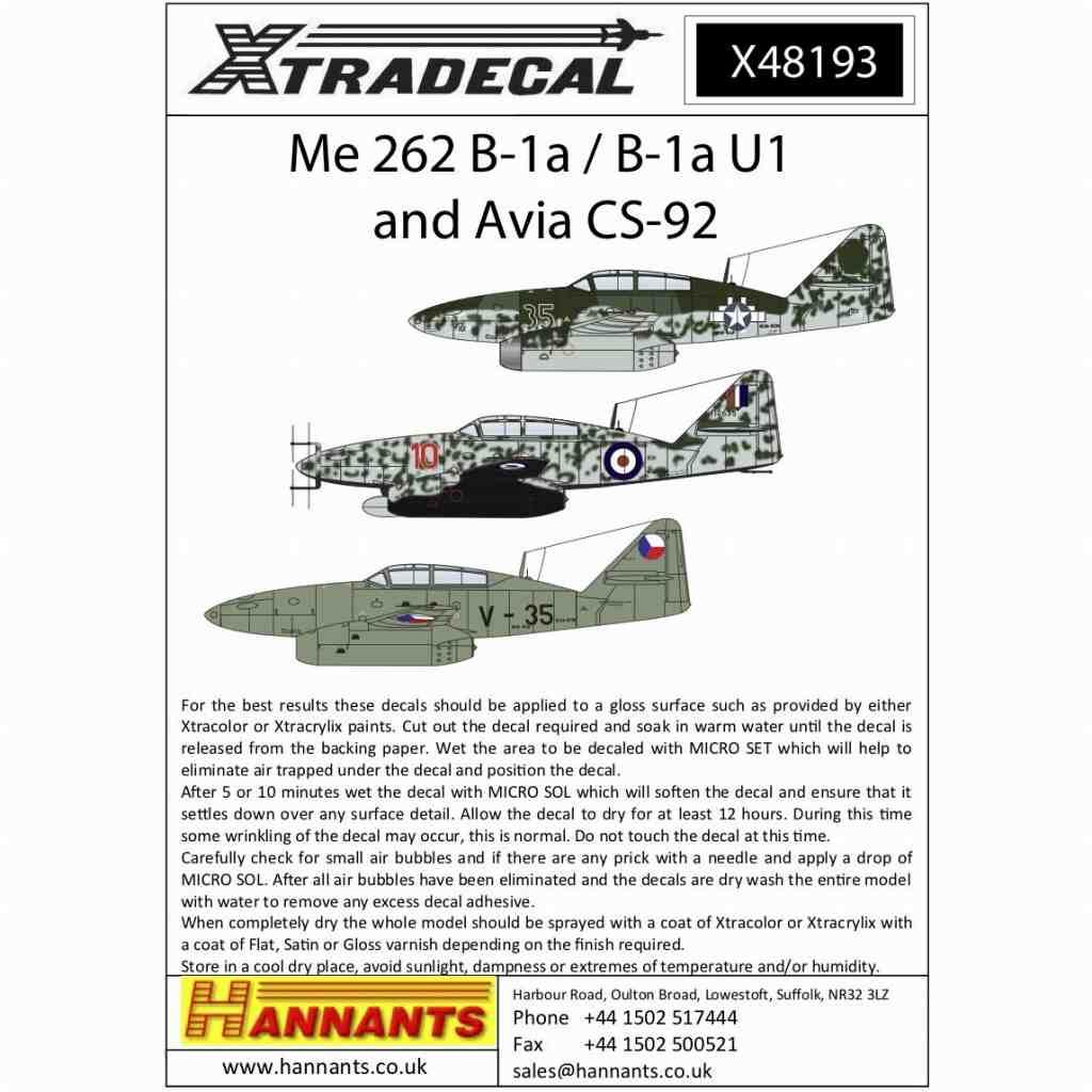 【新製品】X48193 メッサーシュミット Me262B-1a/B-1U1 & アヴィア CS-92