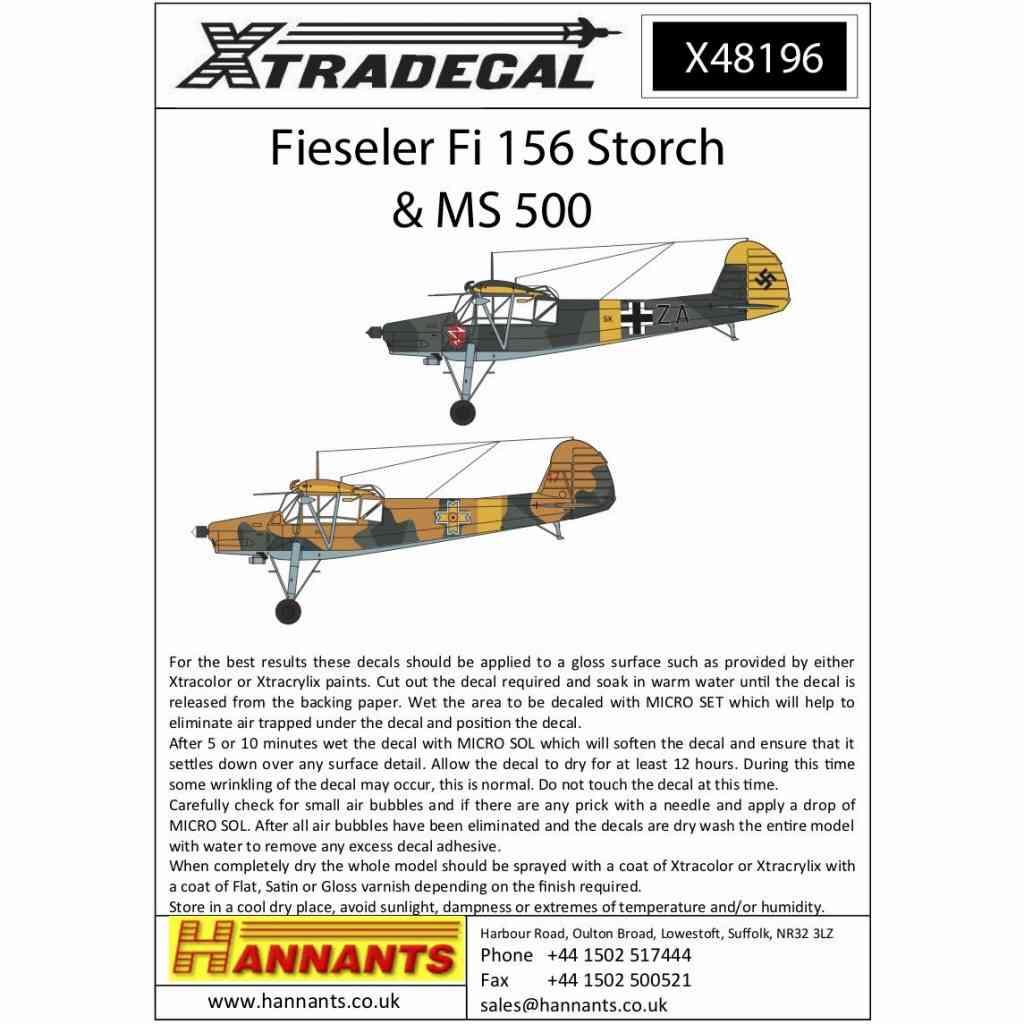 【新製品】X48196 フィゼラー Fi156 シュトルヒ & MS500