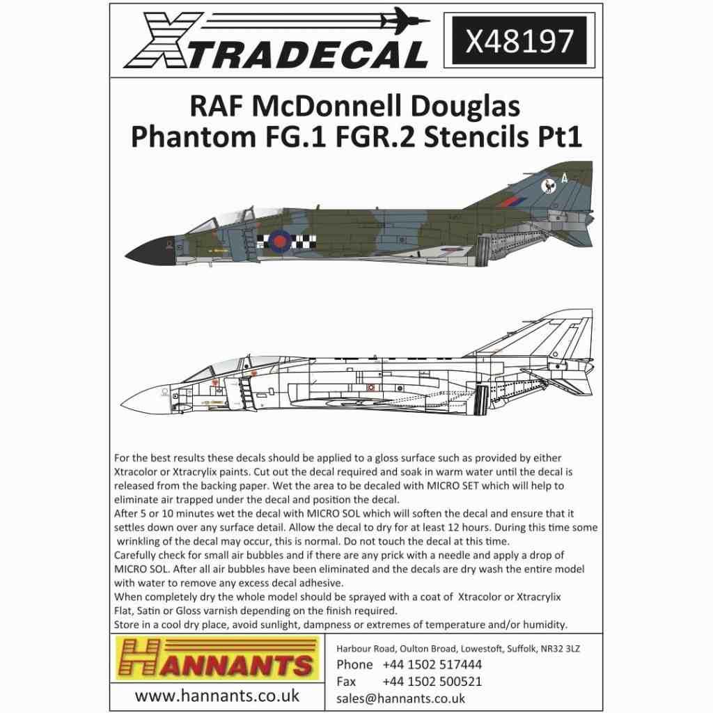 【新製品】X48197 RAF マクドネルダグラス ファントムFG.1 FGR.2 ステンシル Part.1