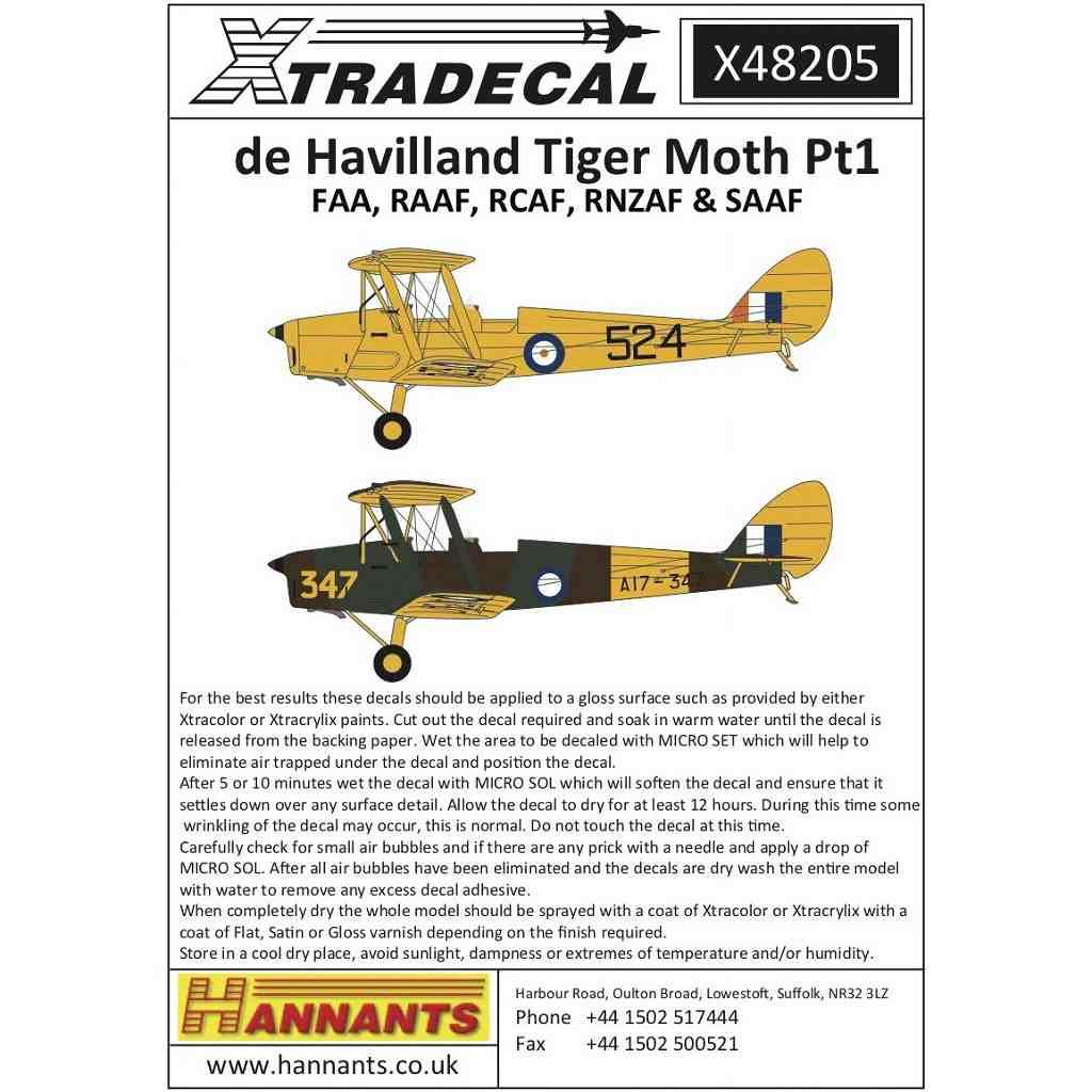 【新製品】X48205 デ・ハビランド タイガーモス Pt.1 イギリス/オーストラリア/ニュージーランド/南アフリカ