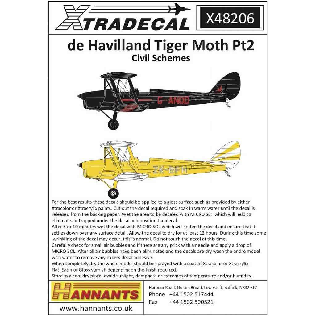 【新製品】X48206 デ・ハビランド タイガーモス Pt.2 民間塗装