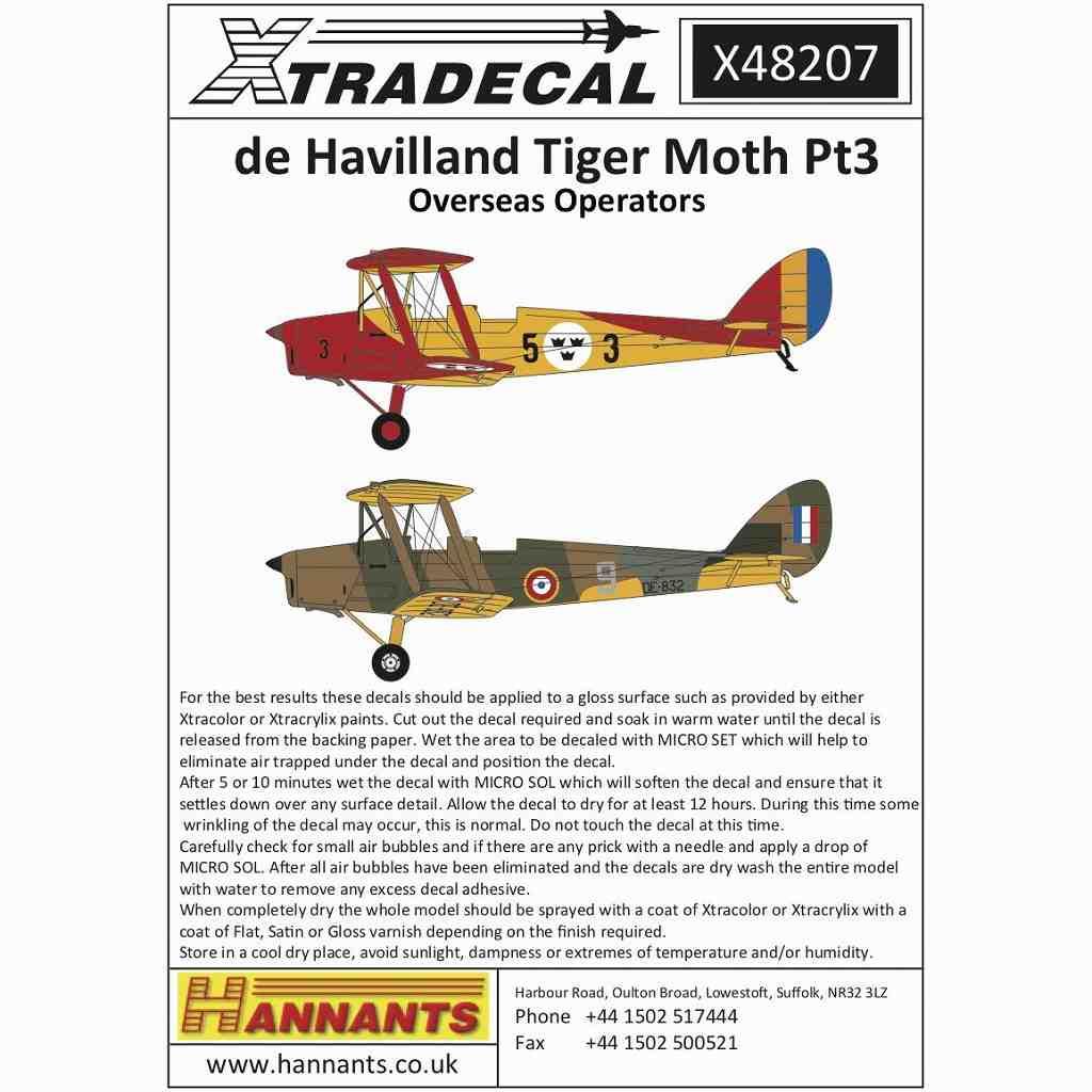 【新製品】X48207 デ・ハビランド タイガーモス Pt.3 諸外国塗装