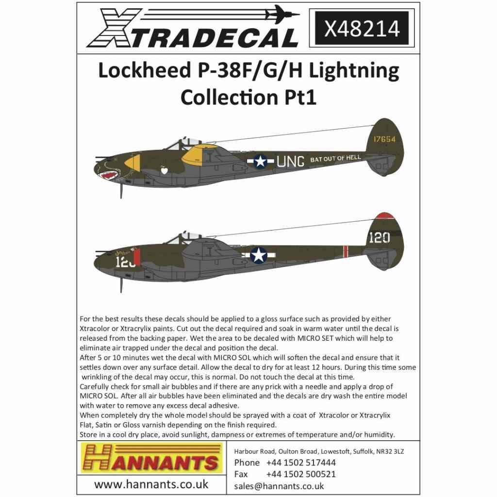 【新製品】X48214 ロッキード P-38F/G/H ライトニング Pt.1