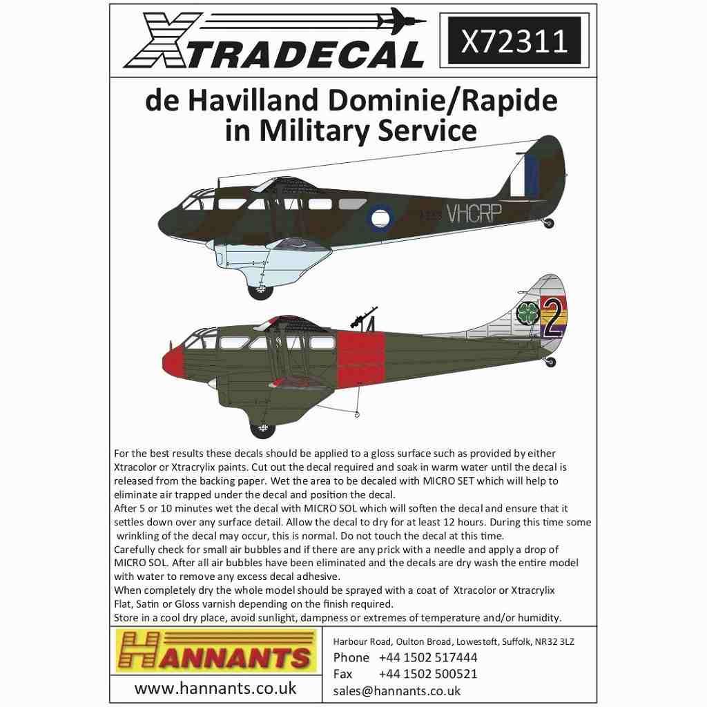 【新製品】X72311 デ・ハビランド ドラゴンラピード/ドミニエ 軍用タイプ