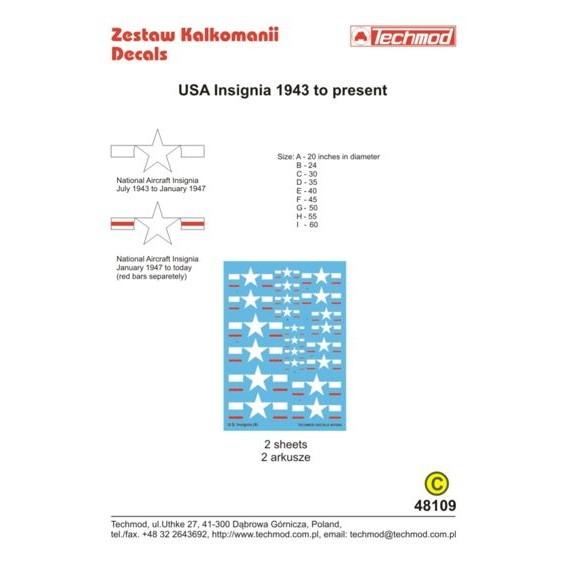 【新製品】TEC48109 アメリカ 国籍マーク 1943-現在