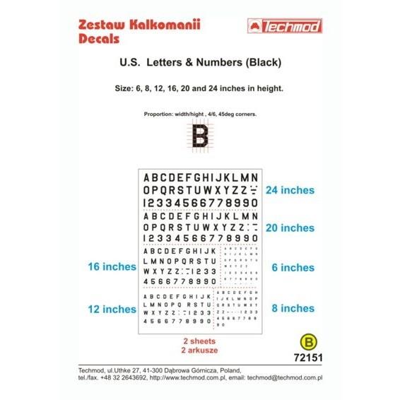 【新製品】TEC72151 アメリカ軍機 レター&ナンバー黒 6/8/12/16/20/14インチ