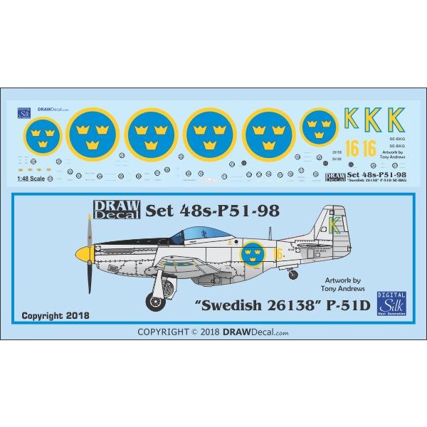 【新製品】Set 48s-P51-98 P-51D Swedish 26158 SE-BKG