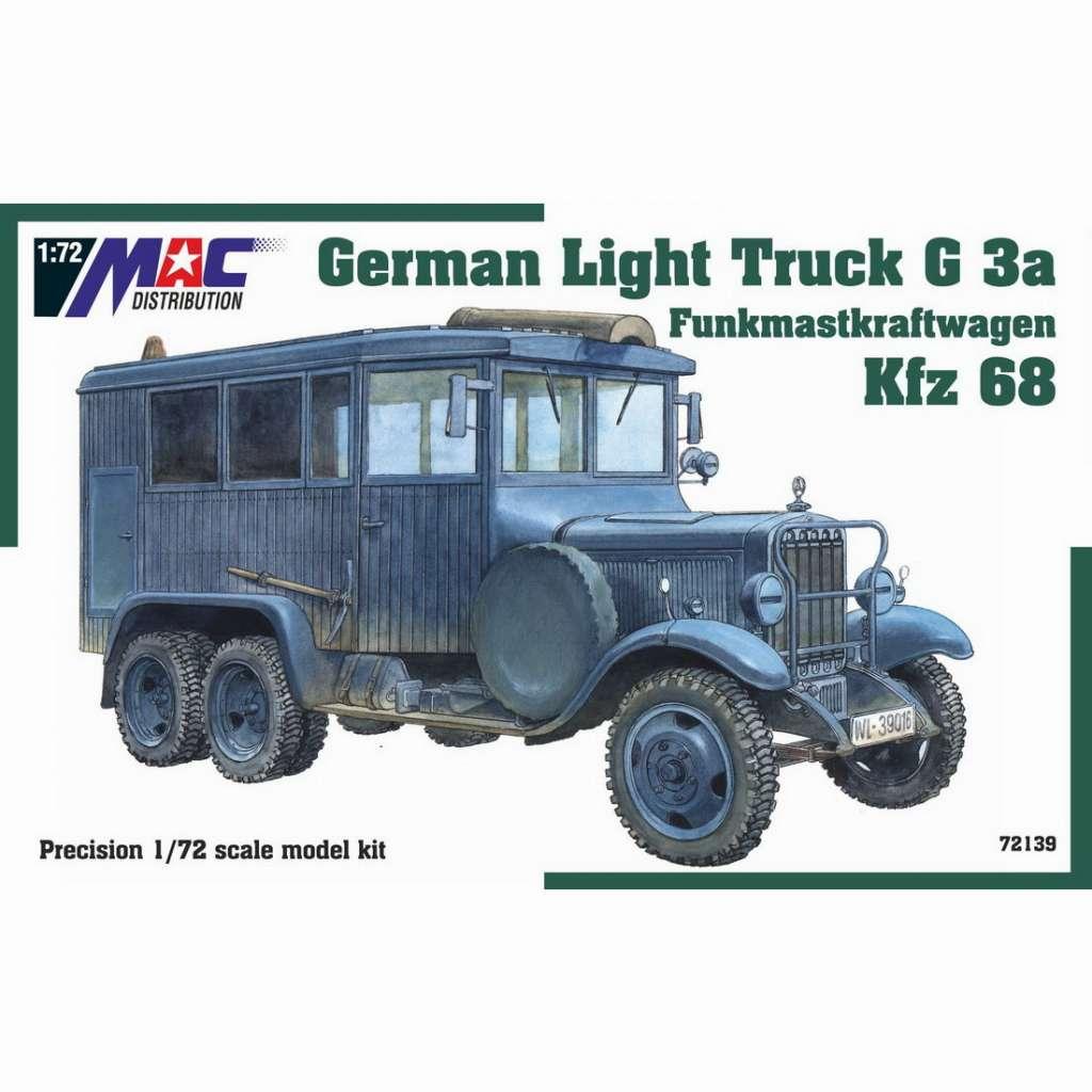 【新製品】72139 WWII ドイツ 1.5tトラック G3a Kfz.68 無線通信用アンテナ搭載車
