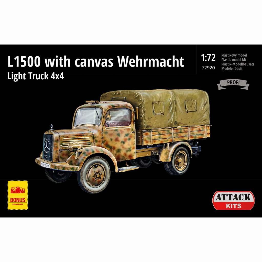 【新製品】72920 ドイツ軍 L1500 4x4 軽カ-ゴトラック w/キャンバス製幌