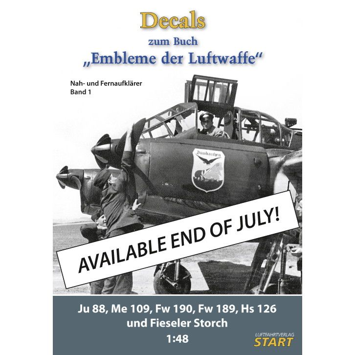 【新製品】STBAND1 Decals zum Blech. Embleme der Luftwaffe - Band 1 Junkers Ju-88; Messerschmitt Bf-109; Focke-Wulf Fw-190; Fw-189; Henschel Hs-126; Fieserer Storch Fi-156C;