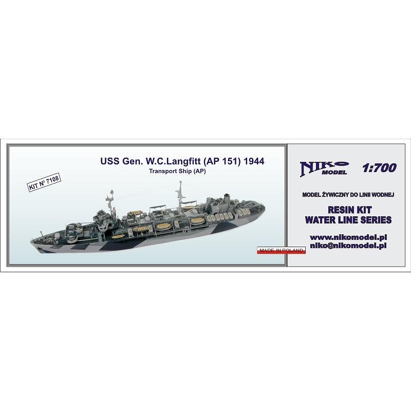 【新製品】7108 米海軍 兵員輸送艦 AP-151 ジェネラル W・C・ラングフィット General W.C.Langfitt AP-151 1944