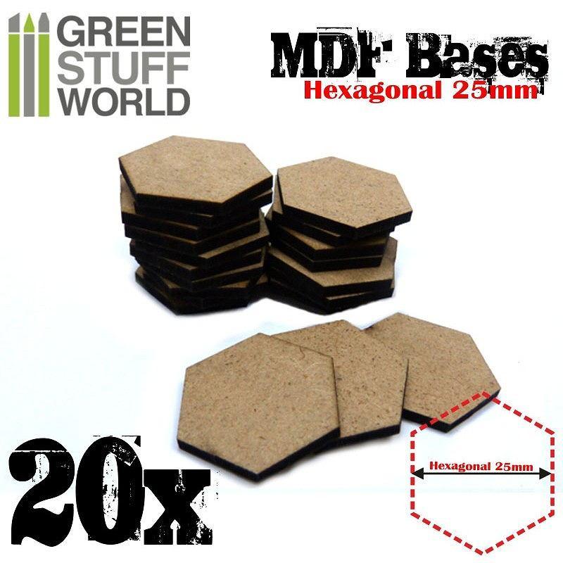 【新製品】GSWD-9354 MDFベース 六角形型セット(直径25mm) 20枚入
