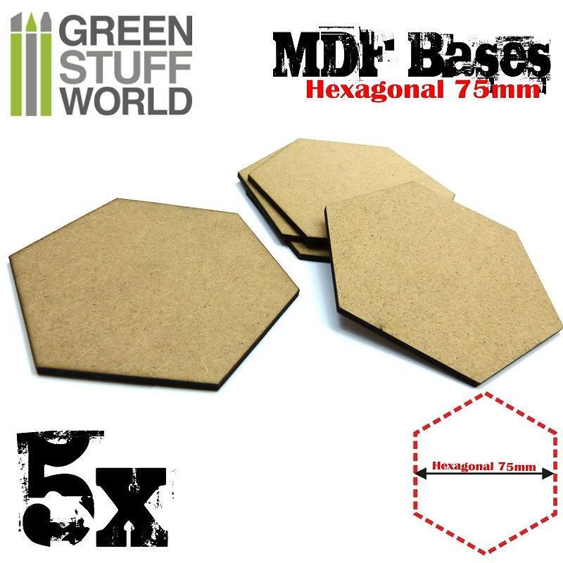 【新製品】GSWD-9358 MDFベース 六角形型セット(直径75mm) 5枚入