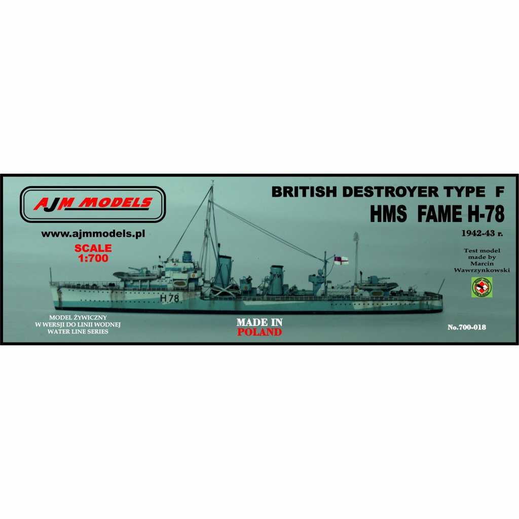 【新製品】700-018 英海軍 F級駆逐艦 H-78 フェイム Fame 1942-43