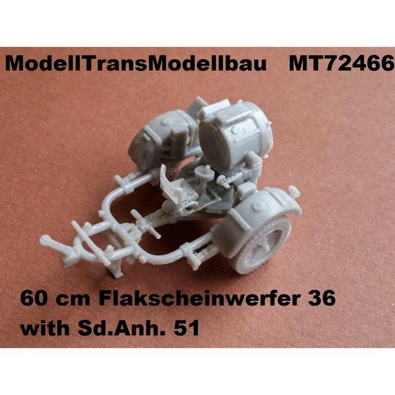 【新製品】MT72466 Flak-Sw.36 60cm サーチライト & Sd.Anh.51 トレーラー
