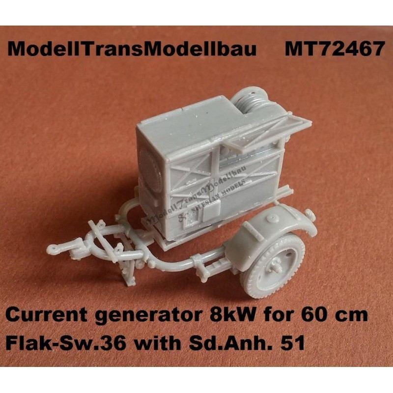 【新製品】MT72467 ドイツ Flak探照灯用 8kW 発電機 & Sd.Ah.51 トレーラー