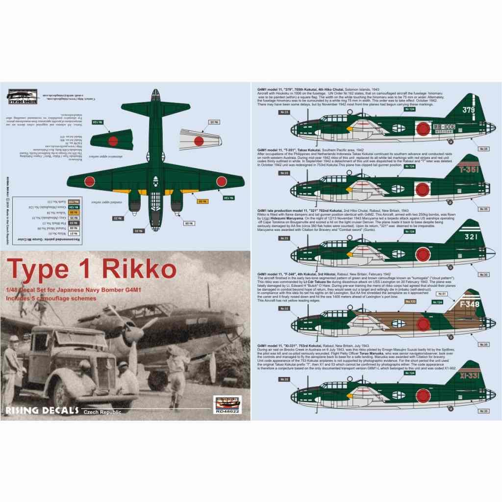 【新製品】RD48022 三菱 G4M1 一式陸上攻撃機 一一型デカール