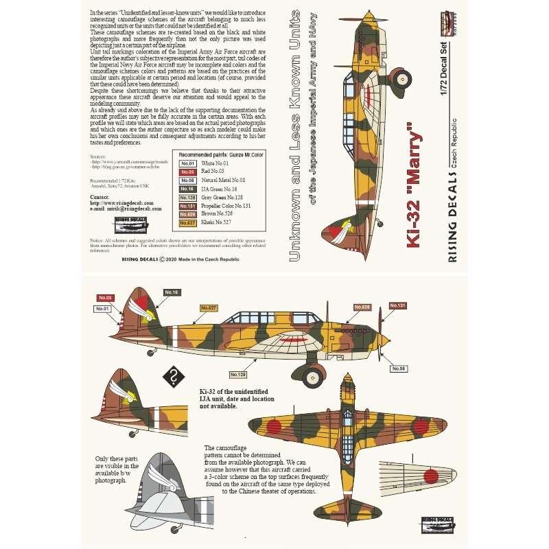 【新製品】RD72090 九八式軽爆撃機 デカール「知られざる部隊シリーズ」