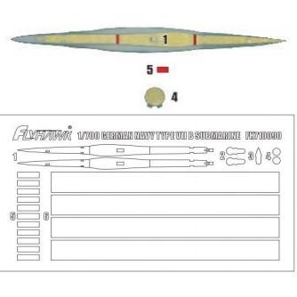 【新製品】710090 独海軍 UボートVII型 マスキングシート