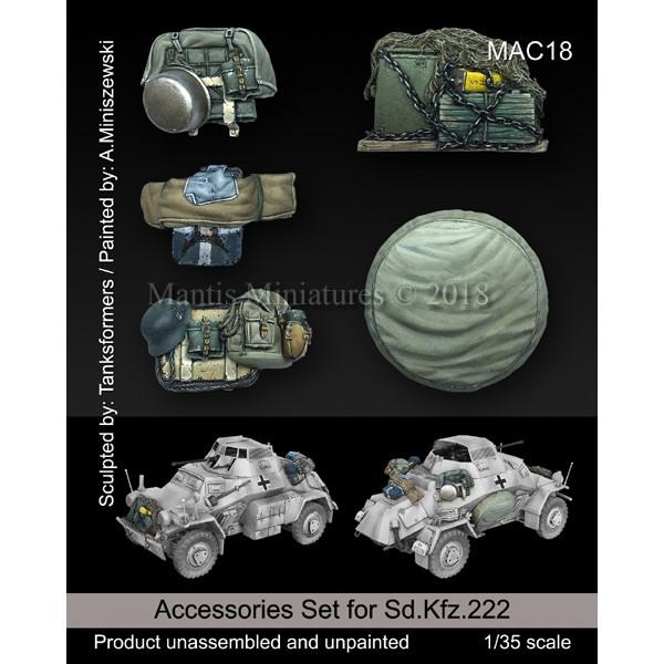 【新製品】MAC18 WWII 独 Sd.Kfz.222用車外装備品&予備タイヤセット