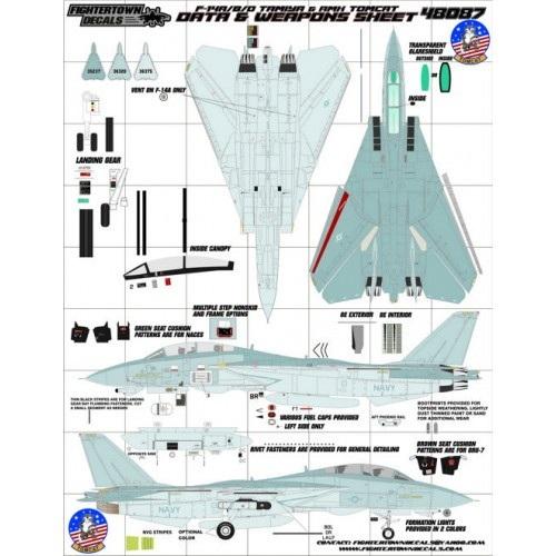 【新製品】48087 F-14A/B/D トムキャット データ&ウエポンシート