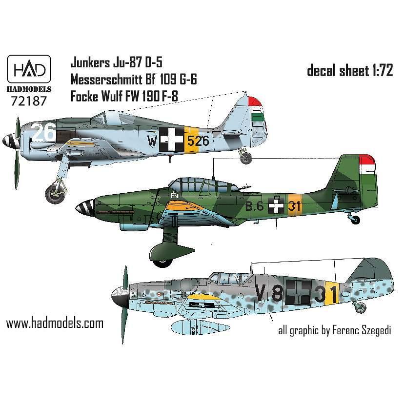 【新製品】D72187 Bf109G-6、Ju87D-5、Fw190F-8 「ハンガリー空軍」