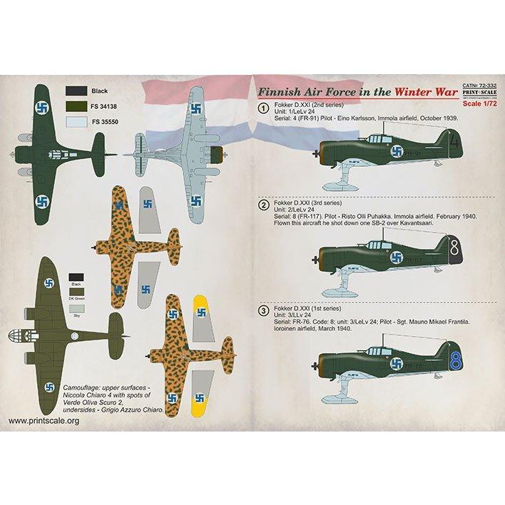 【新製品】72332 フィンランド空軍 冬戦争 Pt.1 フォッカー D.XXI/フィゼラー Fi156/モラーヌ・ソルニエ MS.406C1/フィアット G.50/ブリストル ブレニム