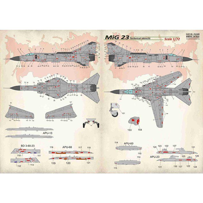 【新製品】72349 ミグ MiG-23 フロッガー ステンシル