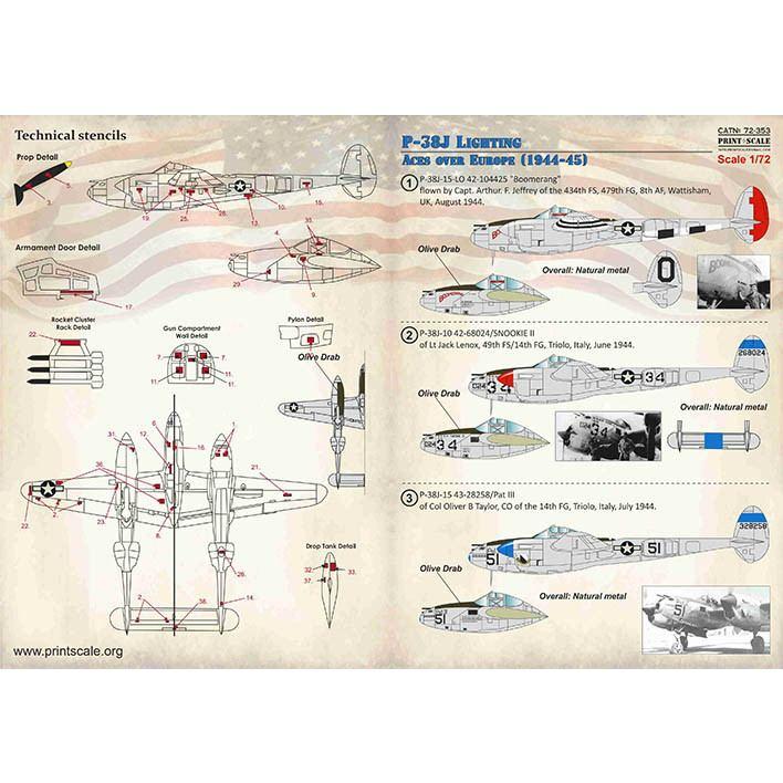 【新製品】72353 ロッキード P-38J ライトニング ヨーロッパ戦線エース 1944-45年