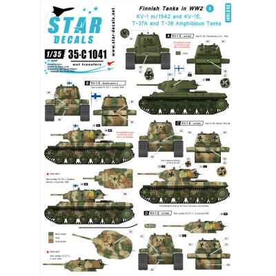 【新製品】35-C1041)WWIIのフィンランド戦車 #5 デカールセット KV-1,水陸両用戦車