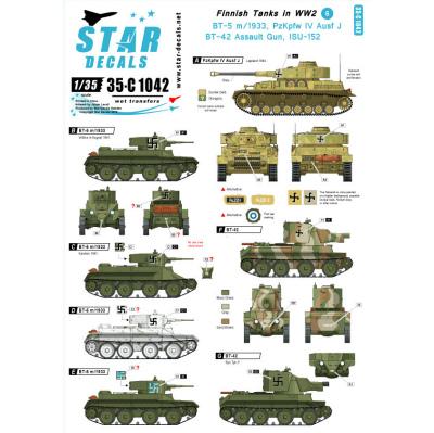 【新製品】35-C1042)WWIIのフィンランド戦車 #6 デカールセット BT-5,BT-42,IV号,JSU-152