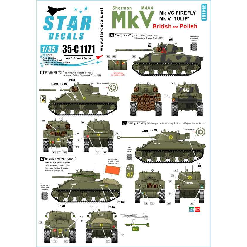 【新製品】35-C1171 シャーマンMk.V 英国とポーランドのMk.V 'チューリップ'とMk.VC ファイアフライ