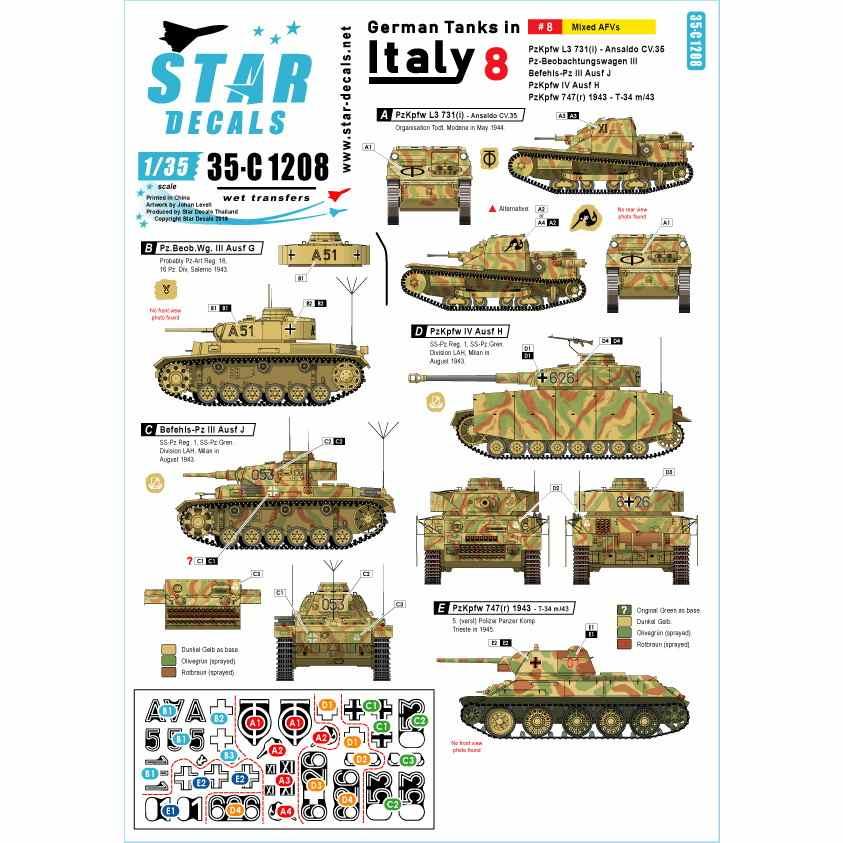 【新製品】35-C1208 WWII 独 イタリア戦線のドイツ戦車#8 III号指揮戦車G型 III号指揮戦車J型 IV号戦車H型 L3豆戦車 T-34/76