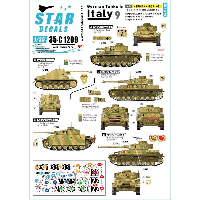 【新製品】35-C1209 WWII 独 イタリア戦線のドイツ戦車#9 ヘルマンゲーリング装甲師団 三号戦車M/N型 IV号戦車G/H型 マーダーII