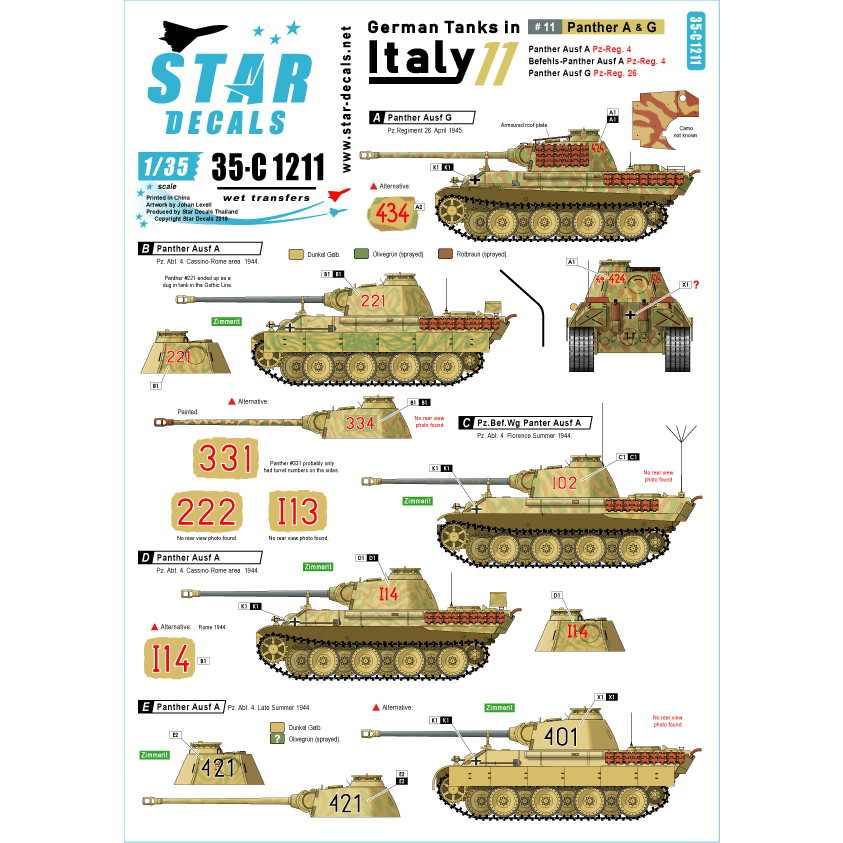 【新製品】35-C1211 WWII 独 イタリア戦線のドイツ戦車#11 パンターA型及びパンターG型初期型