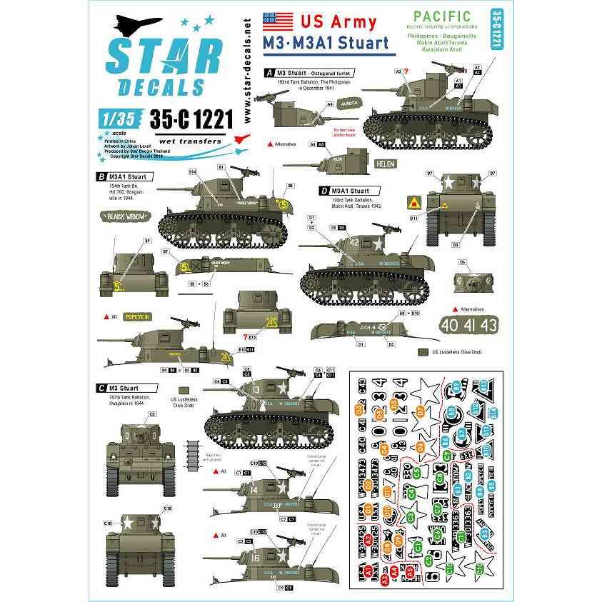 【新製品】35-C1221 WWII 米 太平洋戦線に配備されたアメリカ陸軍所属のM3&M3A1スチュアート