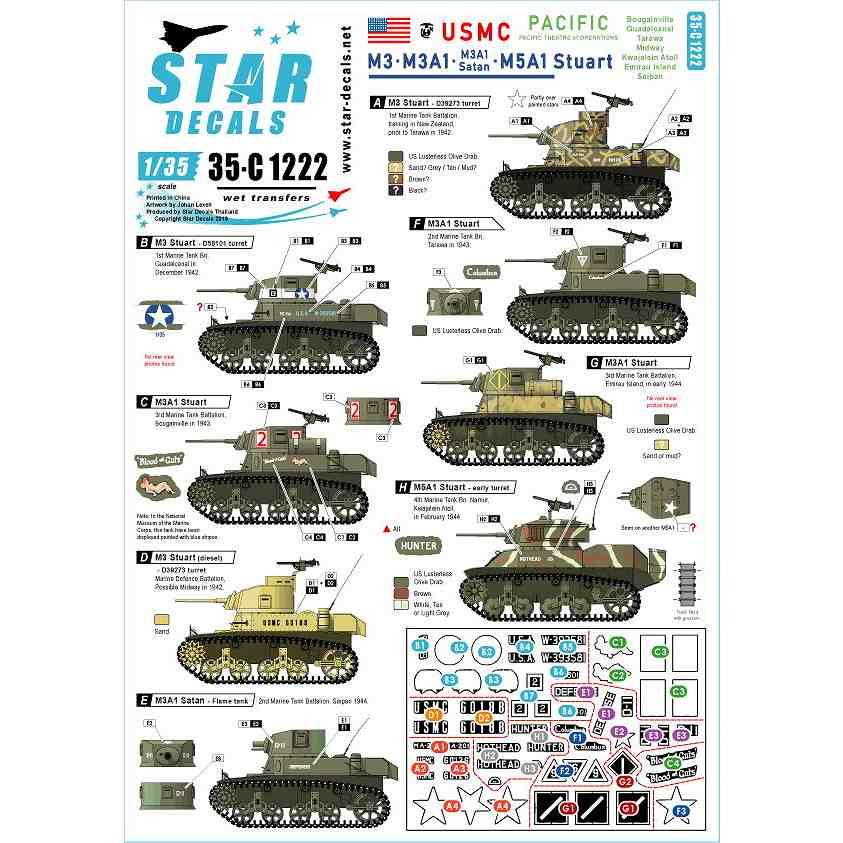 【新製品】35-C1222 WWII 米 太平洋戦線に於けるアメリカ海兵隊所属のM3&M3A1とM5A1スチュアート