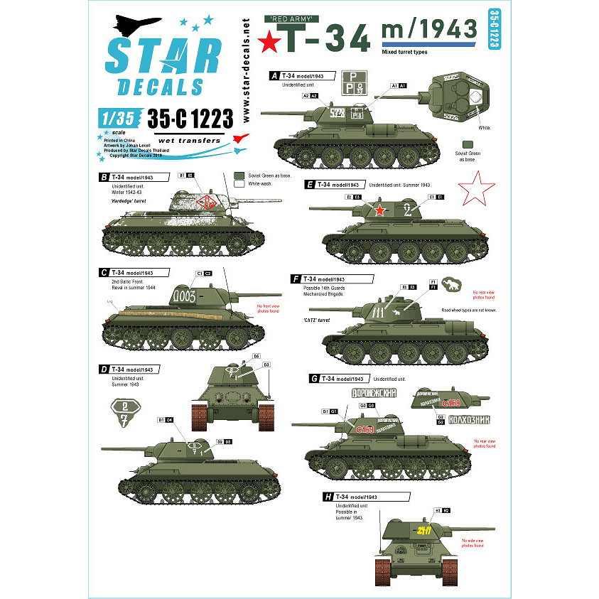 【新製品】35-C1223 WWII ロシア/ソ連 ソビエト赤軍 T-34/76 1943年型
